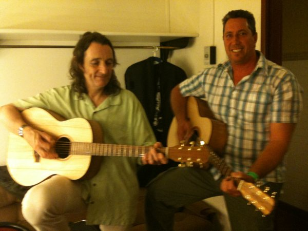 Roger Hodgson and I playing a couple of my Hand made acoustic Guitars