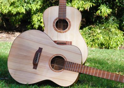 Custom guitars featuring handmade Bunya pine soundboards