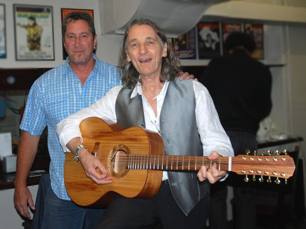 Photo: Glenn Bird and Roger Hodgson, back stage at the State Theatre Sydney, with Roger playing his new 12 string acoustic (GBSJ-12) from Glenn Bird Guitars - April 4, 2013