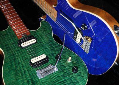 Handmade GR3 electric guitars showing deep mirror finish