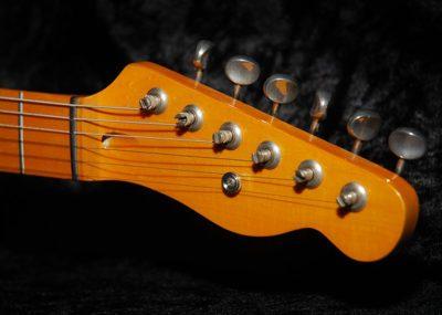 Electric guitar headstock closeup