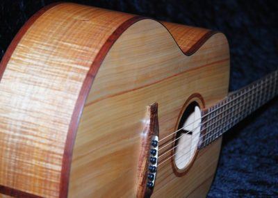 Handmade Glenn Bird guitar showing timber bindings