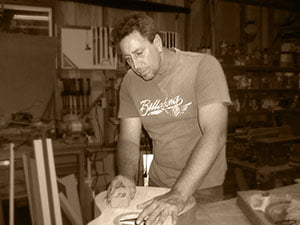 Glenn Bird working on one of his handmade guitars